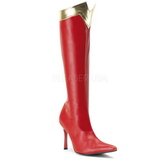 Rood 9,5 cm WONDER-130 Knie Hoge Dameslaarzen