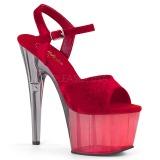Rood Fluweel 18 cm ADORE-709MCT paaldans sandalen met hakken