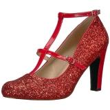 Rood Glitter 10 cm QUEEN-01 grote maten pumps schoenen