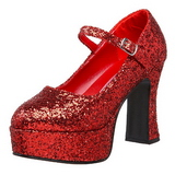 Rood Glitter 11 cm MARYJANE-50G Plateau Pumps Mary Jane