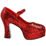 Rood Glitter 11 cm MARYJANE-50G Plateau Pumps Mary Jane