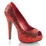 Rood Glitter 13,5 cm TWINKLE-18G Plateau Pumps Hoge Hak Peep Toe