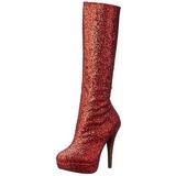 Rood Glitter 13 cm LOLITA-300G Plateau Dames Laarzen