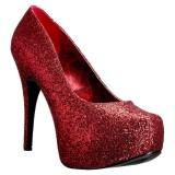 Rood Glitter 14,5 cm Burlesque TEEZE-06GW mannen pumps voor brede voeten