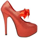Rood Glitter 14,5 cm TEEZE-04G damesschoenen met hoge hak