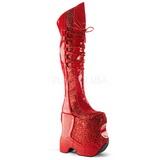 Rood Glitter 22 cm FABULOUS-3035 Overknee Laarzen Drag Queen