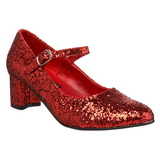 Rood Glitter 5 cm SCHOOLGIRL-50G Pumps Mary Jane
