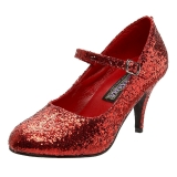Rood Glitter 7,5 cm GLINDA-50G Pumps Mary Jane