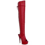 Rood Kunstleer 15 cm DELIGHT-3019 overknee laarzen met plateauzool