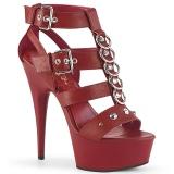 Rood Kunstleer 15 cm DELIGHT-658 pleaser schoenen met hoge hakken
