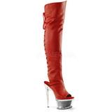 Rood Kunstleer 16,5 cm ILLUSION-3019 overknee laarzen met plateauzool