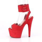 Rood Kunstleer 18 cm ADORE-791FS pleaser hoge hakken met brede enkelband
