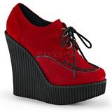 Rood Kunstleer CREEPER-302 wedge creepers schoenen sleehakken