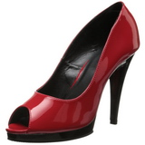 Rood Lak 12 cm FLAIR-474 Plateau Pumps Open Teen
