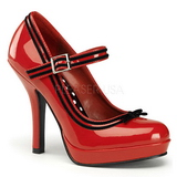 Rood Lak 12 cm PINUP SECRET-15 Mary Jane Plateau Pumps Hoge Hak