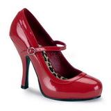 Rood Lak 12 cm rockabilly PRETTY-50 Dames pumps met lage hak