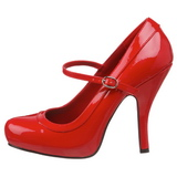 Rood Lak 12 cm rockabilly PRETTY-50 Dames pumps met lage hak