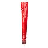 Rood Lak 13,5 cm INDULGE-3000 Overknee Laarzen voor Heren