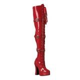 Rood Lak 13 cm ELECTRA-3028 Over de Knielaarzen Hoge Hak