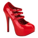 Rood Lak 14,5 cm Burlesque TEEZE-05 damesschoenen met hoge hak