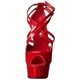 Rood Lak 15 cm Pleaser DELIGHT-612 Plateau Pumps Hoge Hak