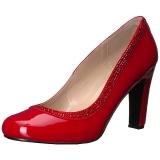 Rood Lakleer 10 cm QUEEN-04 grote maten pumps schoenen