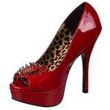 Rood Lakleer 13 cm PIXIE-17 hoge damesschoenen met studs