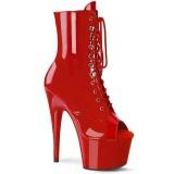 Rood Lakleer 18 cm ADORE-1021 dames enkellaarsjes met plateauzool