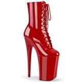 Rood Lakleer 23 cm INFINITY-1020 super hoge hakken - extreme plateau enkellaarzen