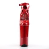 Rood Lakleer 25,5 cm BEYOND-087 super hoge hakken - extreme plateau pumps
