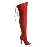Rood Leder 13 cm LEGEND-8899 overknee laarzen met hakken
