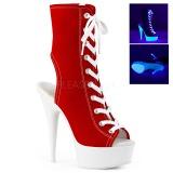 Rood Neon 15 cm DELIGHT-1016SK canvas sneakers met hoge hakken