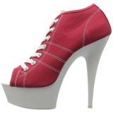Rood Neon 15 cm DELIGHT-600SK-01 canvas sneakers met hoge hakken
