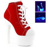 Rood Neon 18 cm ADORE-700SK-02 canvas sneakers met hoge hakken