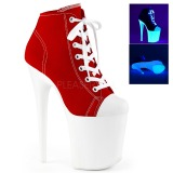 Rood Neon 20 cm FLAMINGO-800SK-02 canvas sneakers met hoge hakken