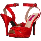 Rood Satijn 12,5 cm EVE-01 grote maten sandalen dames
