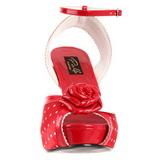 Rood Satijn 12 cm PINUP BETTIE-06 Plateau Hoge Hakken