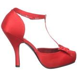 Rood Satijn 12 cm retro vintage CUTIEPIE-12 Dames pumps met lage hak