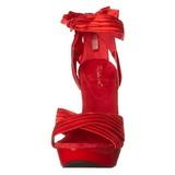 Rood Satijn 13 cm COCKTAIL-568 Sandalen met Hoge Hak