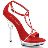 Rood Satijn 13 cm LIP-156 Dames Sandalen met Hak