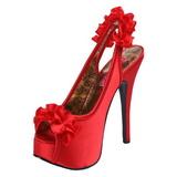 Rood Satijn 14,5 cm Burlesque TEEZE-56 Plateau Sandalen met Hoge Hak