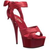 Rood Satijn 15 cm DELIGHT-668 Hoge Avond Sandalen met Hak