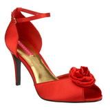 Rood Satijn 9,5 cm ROSA-02 Dames Sandalen met Hak
