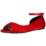 Rood Satijn ANNA-03 grote maten ballerina´s schoenen