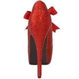 Rood Strass 14,5 cm Burlesque TEEZE-04R Hoge Pumps Schoenen Plateau