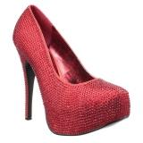 Rood Strass 14,5 cm Burlesque TEEZE-06RW mannen pumps voor brede voeten