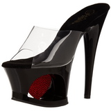Rood Transparant 18 cm Pleaser MOON-701HRS Plateau Hoge Mules