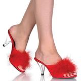 Rood Veren 8 cm BELLE-301F Hoge Mules Schoenen voor Mannen