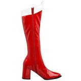 Rood Wit 7,5 cm GOGO-305 Knie Hoge Dameslaarzen