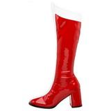 Rood Wit 8 cm GOGO-305 Knie Hoge Dameslaarzen